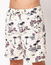 River Island  Scott  Badeshorts mit Motelmotiv