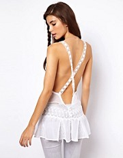 ASOS PREMIUM Top With Lace Inserts And Cross Back