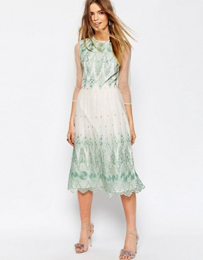 ASOS PREMIUM Mesh Midi Dress With Green Embroidery