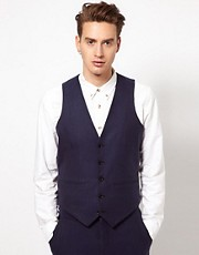 ASOS Slim Fit Waistcoat In Blue Herringbone
