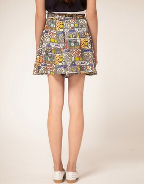 Image 2 ofb Store African Digital Print High Waisted Mini Culottes