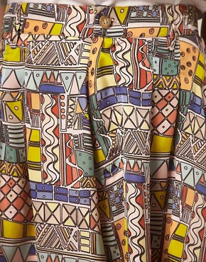 Image 3 ofb Store African Digital Print High Waisted Mini Culottes
