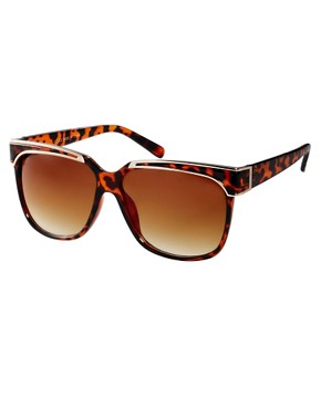 Image 1 of ASOS Oversized Retro Sunglasses With Metal Detailing