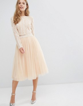 Maya Embellished Midi Tulle Skirt with Embellished Waist