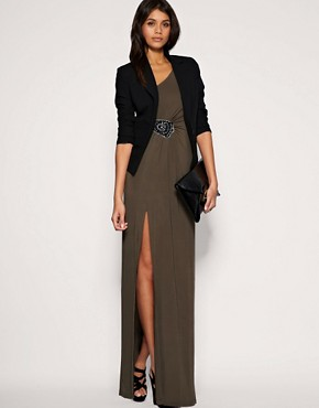 Image 4 ofASOS Embellished Hip Slinky Maxi Dress