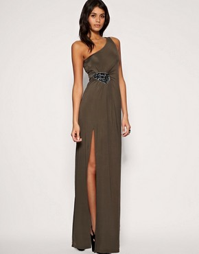 Image 1 ofASOS Embellished Hip Slinky Maxi Dress