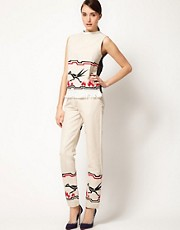 JW Anderson Trouser Skinny With Bird Print