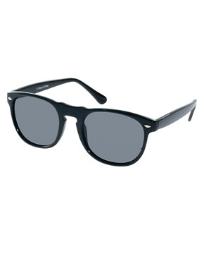 Image 1 ofASOS Round Sunglasses with Peaked Brow