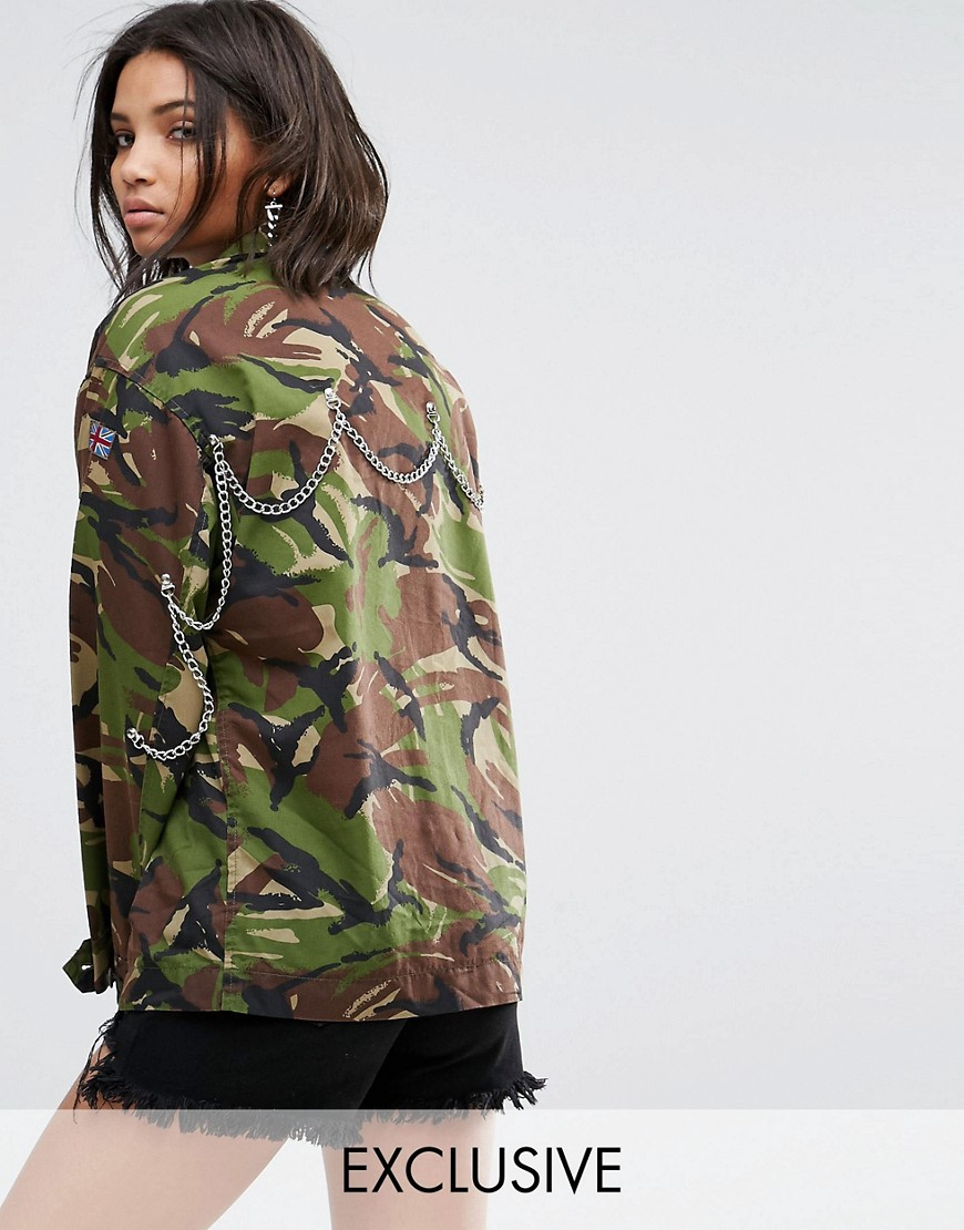 Milk It Vintage Camo Jacket With Back Chains - Green