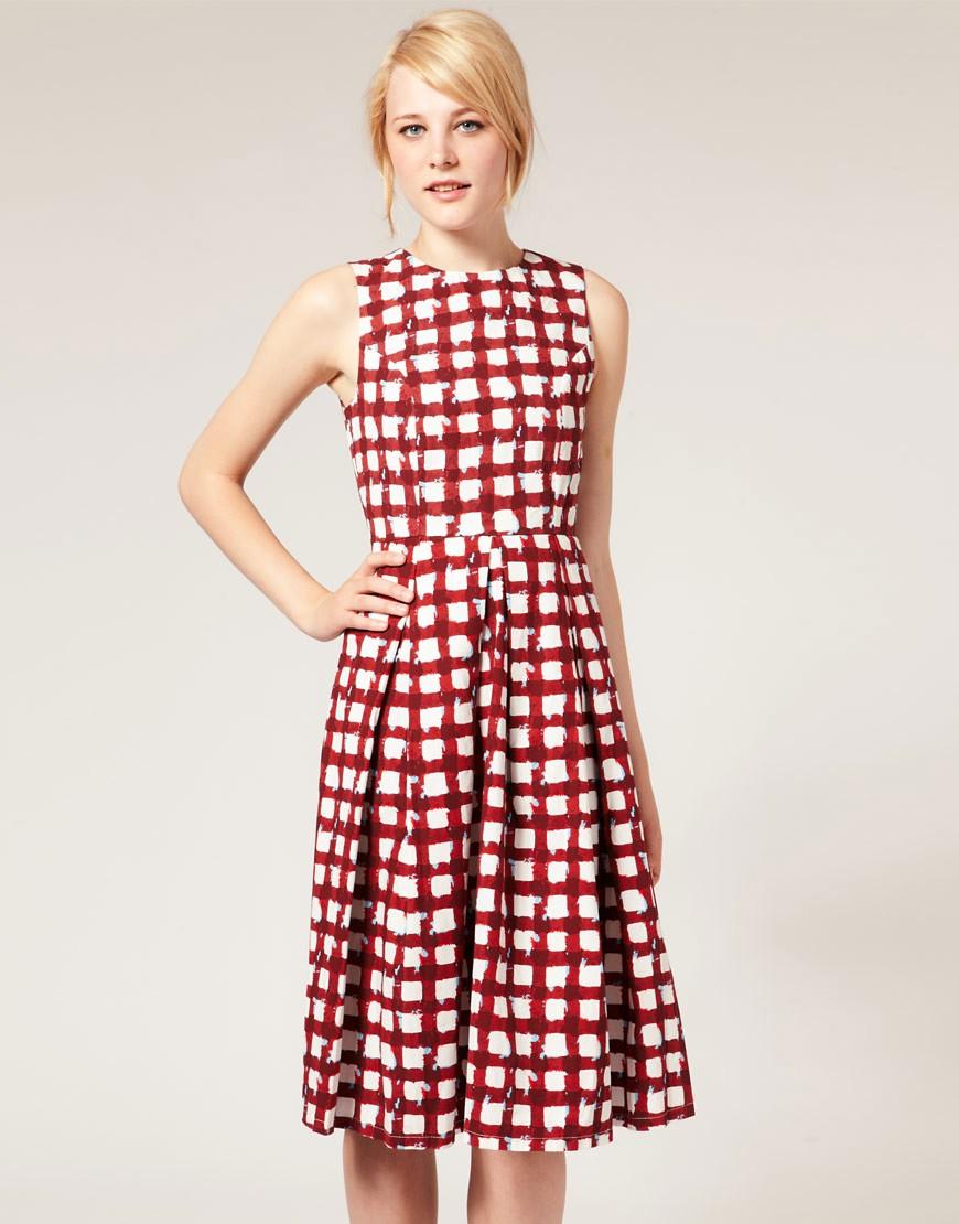 Image 1 ofASOS Midi Dress in Check Print