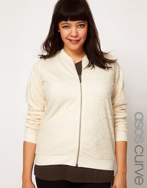 Image 1 ofASOS CURVE Bomber Jacket in Lace