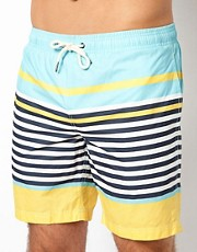 River Island  Badeshorts mit pastellfarbenen Streifen
