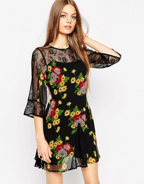 ASOS Skater Dress With Lace Insert with Floral Print