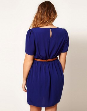 Image 2 ofASOS CURVE Belted Tulip Dress With Sweetheart Neckline