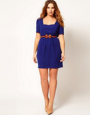 Image 4 ofASOS CURVE Belted Tulip Dress With Sweetheart Neckline