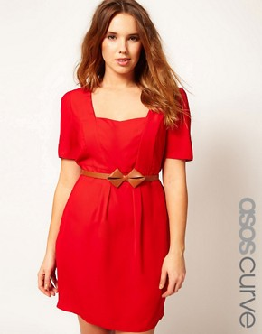 Image 1 ofASOS CURVE Belted Tulip Dress With Sweetheart Neckline