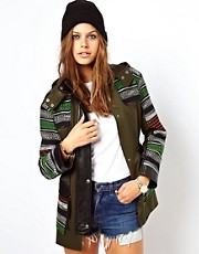 ASOS Premium Blocked Jacquard Parka