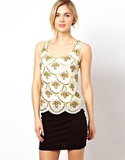 Frock and Frill Embellished Sleeveless Top