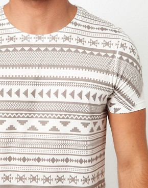 Image 3 ofASOS Stripe T-Shirt With Aztec Pattern
