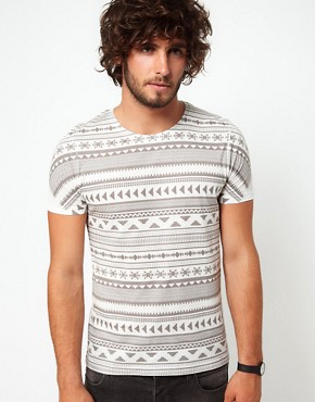 Image 1 ofASOS Stripe T-Shirt With Aztec Pattern