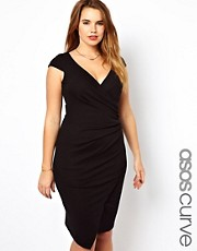 ASOS CURVE Bodycon Ruched Wrap Dress