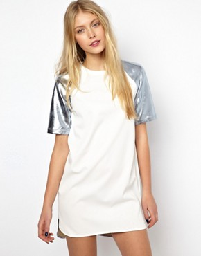 Image 1 of Lavish Alice Shift Dress with Metallic Sleeve and Back