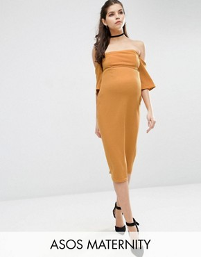 ASOS Maternity Fluted Sleeve Midi Bodycon Dress in Texture