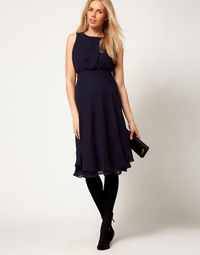 Image 4 ofASOS Maternity Midi Dress With Double Layer