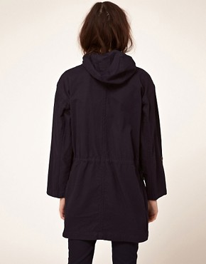 Image 2 ofGloverall Washed Cotton Duffle Parka with Hood