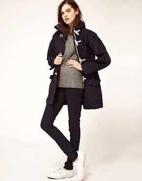 Image 4 ofGloverall Washed Cotton Duffle Parka with Hood