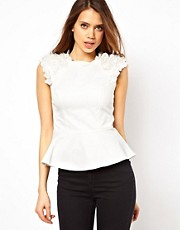 Lipsy Peplum Top with Flower Shoulder Detail
