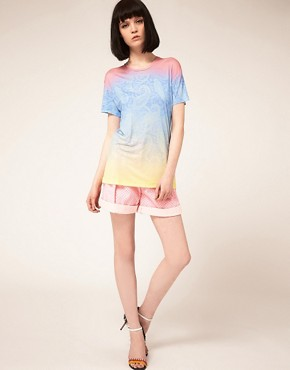 Image 4 ofJonathan Saunders Boyfriend T Shirt In Pastel Paisley