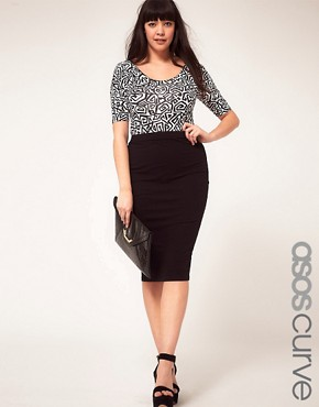 Image 1 ofASOS CURVE Midi Skirt In Jersey