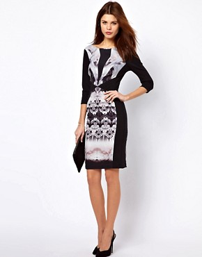 Image 4 ofWarehouse Butterfly Tribal Bodycon Dress