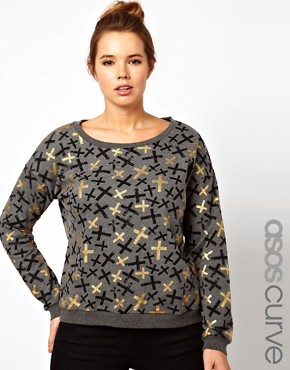 Image 1 ofASOS CURVE Sweat Top in Metallic Cross