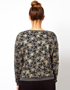Image 2 ofASOS CURVE Sweat Top in Metallic Cross