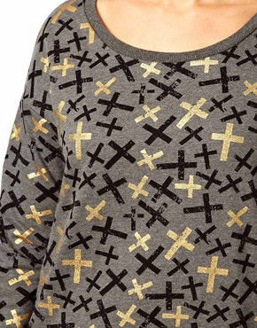 Image 3 ofASOS CURVE Sweat Top in Metallic Cross