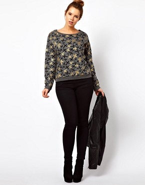 Image 4 ofASOS CURVE Sweat Top in Metallic Cross