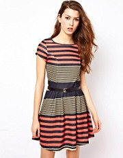 Rare Stripe Belted Dress
