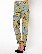 Joyrich Sunflower Print High Waisted Boyfriend Jeans