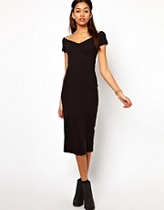 Motel Danielle Midi Dress with Sweetheart Neck