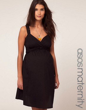 Image 1 ofASOS Maternity Cotton Dress with Sweetheart Neckline