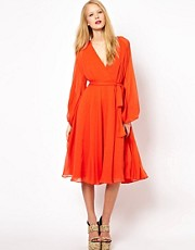 ASOS Belted Midi Dress With Blouson Sleeve