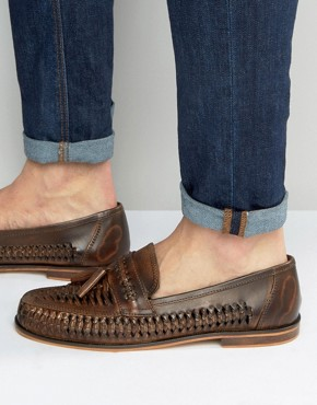 New Look Leather Woven Loafers In Dark Brown