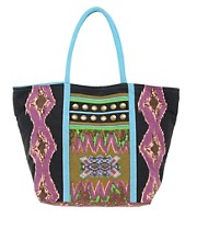 Liquorish Multi Print Beach Bag