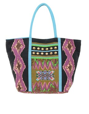 Image 1 ofLiquorish Multi Print Beach Bag