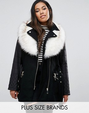 River Island Plus Padded Jacket With Faux Fur Collar