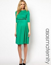 ASOS Maternity Midi Dress With Pleated Skirt
