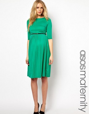 Image 1 ofASOS Maternity Midi Dress With Pleated Skirt