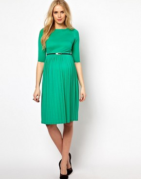 Image 4 ofASOS Maternity Midi Dress With Pleated Skirt